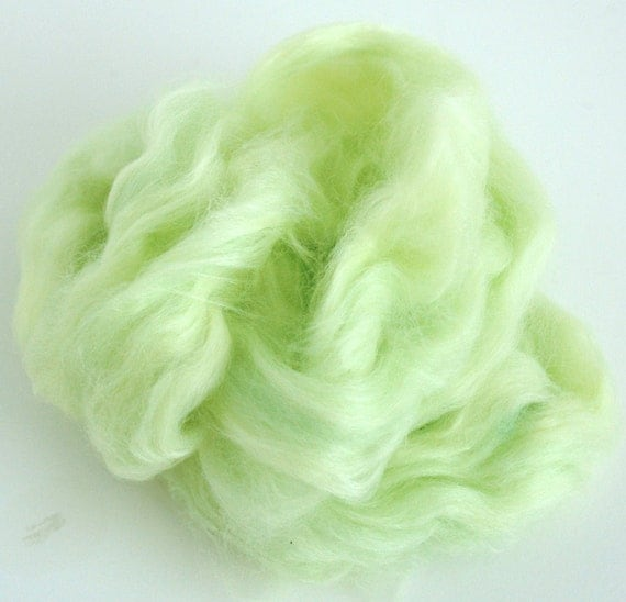 Dyed Faux Cashmere (Nylon) - Creme de Mint - Spinning, Art Batts, Blending, Crafts - 1/2 ounce