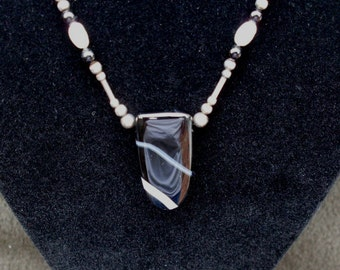 Unique Eye-catching Striped Black Onyx Stone and Pearl Necklace - Clearance Reduced