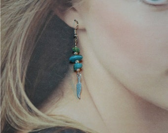 Natural Turquoise Nugget Dangles - Clearance Reduced