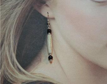 Bone and Wood Bead Dangle Earrings