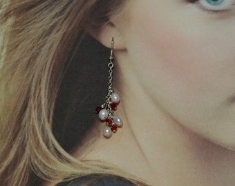 Siam Red Swarovski Crystal and Pearls Dangle Earrings - Clearance Reduced