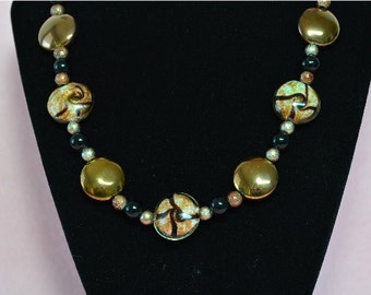 Large Glass Copper Color Disc Beaded Necklace - Clearance Reduced
