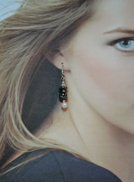 Magnetic Hematite and Pearl Dangle Earrings - Clearance Reduced