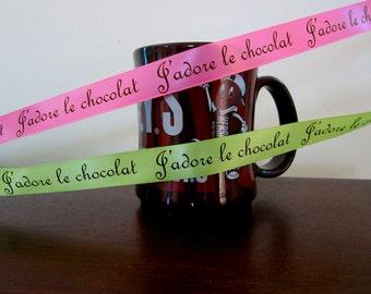 Chocolate Print Satin Ribbon by the yard