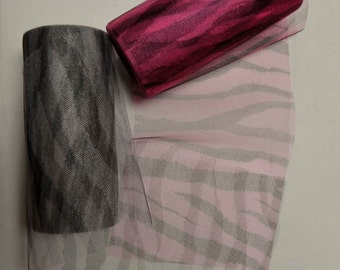 Zebra Print 6 inch wide Tulle Mesh Ribbon - Black and White / Neon Pink