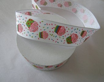 Cupcake Print Woven Wired Ribbon by the yard