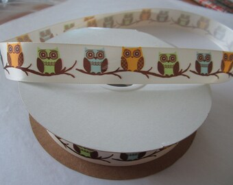 Satin Ribbon by the yard - Cream with Owl Print
