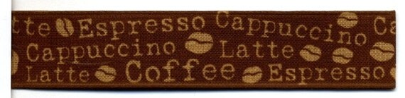 Coffee - Beanery Print Woven Ribbon by the yard