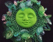 Earth Goddess Broach.  Hand crochet and beading. OOAK. Sale 3.00 today only.