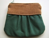 Tan and Green Organic Cotton Pouch
