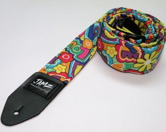 70's Style Handmade double padded Hippie Guitar Strap - FLOWER CHILD - Peace - Love
