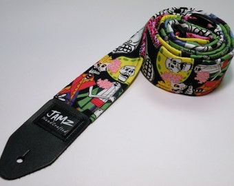 Handmade double padded calaca guitar strap - DEAD MAN'S PARTY - Skeletons - Day of the Dead - Dia de los Muertos