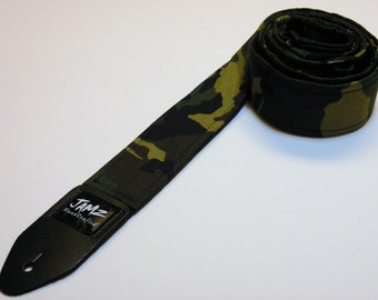 CLEARANCE SALE 38% Off!  Handcrafted Double Padded Guitar Strap - Commando - Military Tribute - Camouflage - Camo