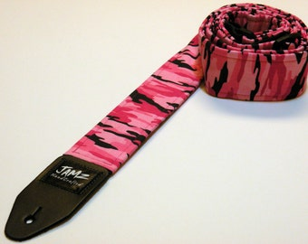 Handmade Double Padded Guitar Strap - PINK CAMO - Womens - Girls