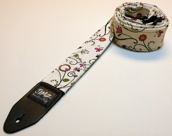 Handmade Guitar Strap - IMAGINE - Lady Bugs - Butterflies - Play - Sing - Create