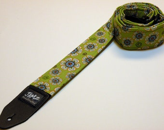 Handmade double padded green& blue FLOWER DOODLE guitar strap