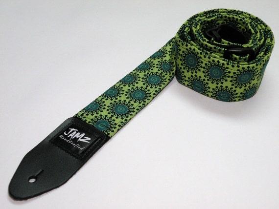 Handmade Guitar Strap - GREEN ENVY - Emerald Green - Lime Green - Green Sun
