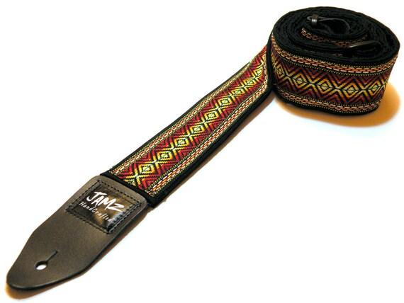 Reggae Guitar Strap - RASTA - Jamaica - Bob Marley - Woven Jacquard Ribbon