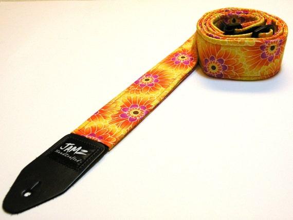 Handmade Guitar Strap - ALOHA - Floral - Hawaii - Tropics