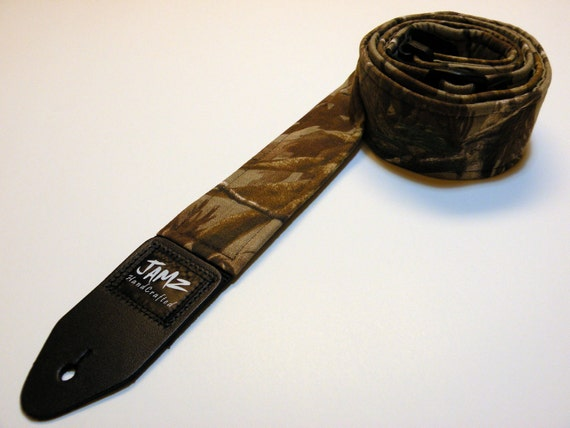 Handmade double padded guitar strap made with REAL TREE fabric - This is NOT a licensed product