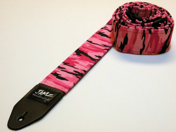 pink camo guitar strap handmade and double padded womens. Black Bedroom Furniture Sets. Home Design Ideas