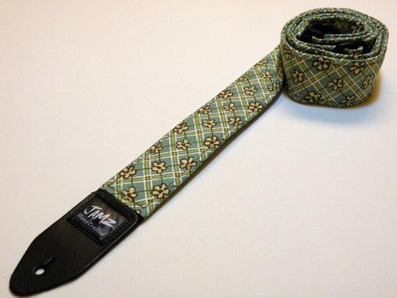 Handmade Guitar Strap - PLAID PETALS - Plaid Floral Print