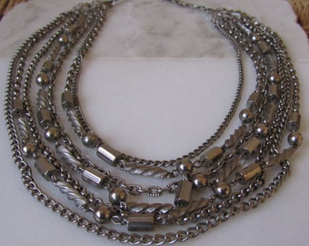 Mid Centrury Layered Necklace, Metal Beads and Chains,