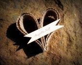 Burlap heart ornament, place setting 100 pc set