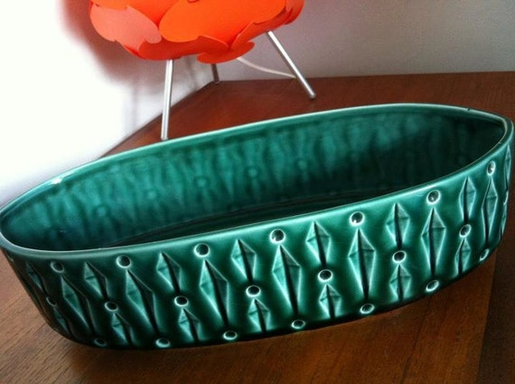 Vintage green planter. Retro teal/green pot with diamond & circle funky design. Interior design or centre piece for wedding