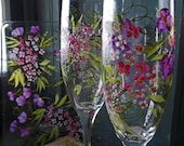 Next Day Shipping ROMANTIC GARDEN 2 Champagne Flutes & Plate Handpainted