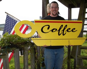 Coffee Sign Yellow Wood Retro