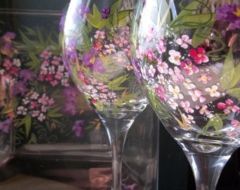 ROMANTIC GARDEN 2 Wine Glasses & Cheese Plate Handpainted