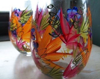 2 ROUSSEAU Inspired Stemless 20oz Wine Glasses Handpanted