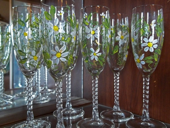 Next Day Shipping 6 DAISY Champagne Flutes Glasses handpainted