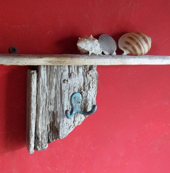 "Driftwood Beach Cottage Decor 22"" shelf with Hook"