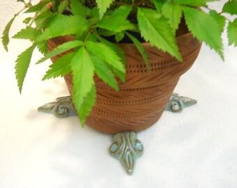 """Ceramic Pot Feet """"Fleur de Lis"""" Turquoise Glaze set of 4"""