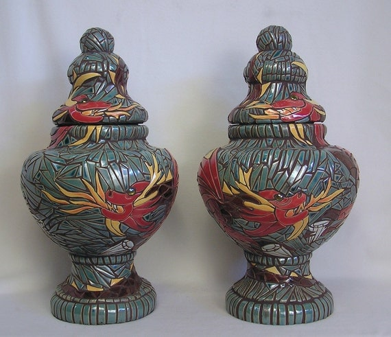 Mosaic Art  Handmade Ceramic Tile Dragon Temple Urns Pair