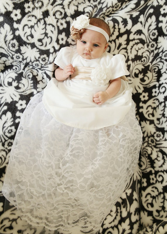 Historically inspired Lace, Satin and Cotton COLETTE  DRESS  SET with rose and hydrangea Headband
