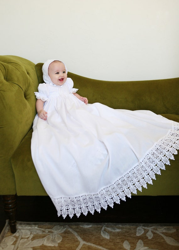 The Victoria Dress for Baptism,  Blessing, Christening  Traditional Heirloom cotton and Venice lace Dress