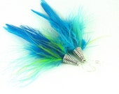 ELECTRIC BLUE - Neon Feather Earrings
