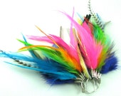 Feather Earrings - Rainbow Feathers - Sterling Silver