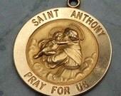 14K Gold Saint Anthony Pray For Us Charm/Medal