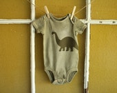 """Olive Green """"Long Neck"""" Onesie - Size 3-6 months"""