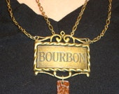 ON SALE Copper Plate Bourbon Label Necklace