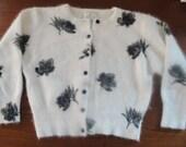 Vintage Pin Up Angora Cardigan Sweater