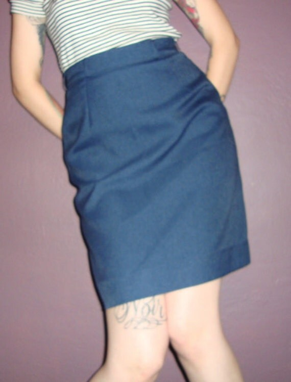 Vintage Navy Blue 50s Pencil Skirt