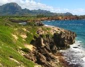 Photography Kauai: 8x10 photo. cliffs ocean water blue green waves rocks rustic natural organic colorful
