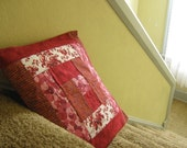 "Red ""Log Cabin"" Quilted Pillowcase"