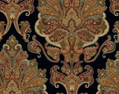 Waverly Fabric Black Aziza Paisley Drapery Upholstery Onyx 2 yards Free Shipping