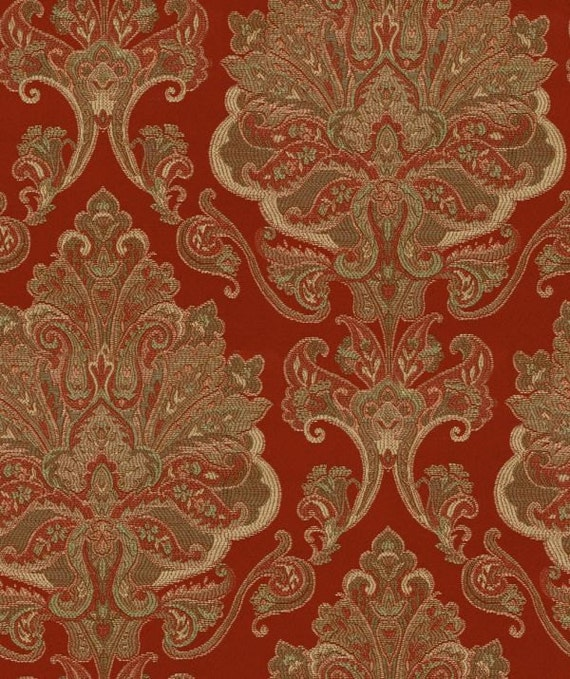 Waverly Fabric Red Aziza Paisley Drapery Upholstery Garnet 2